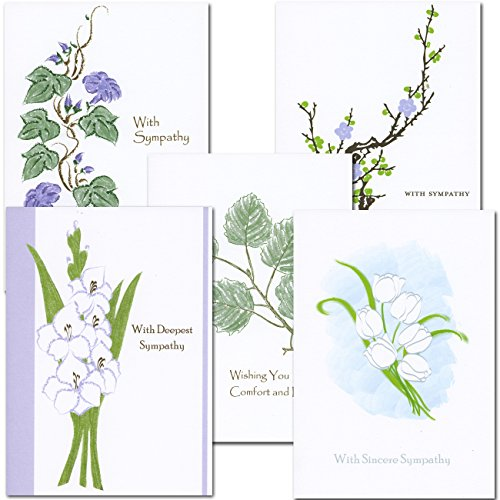 Sympathy Card Assortment- 2 Each of 5 Designs, Boxed 10 Cards & env Made in USA by CroninCards (Card Assortment Sympathy)