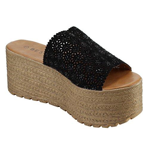 BESTON EM28 Womens Slip On Comfort Woven Summer Platform Sandal supplies