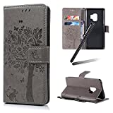 Galaxy S9 Stand Case,Samsung Galaxy S9 Wallet Case,Galaxy S9 2018 PU Leather Case,SKYMARS Cat Tree Embossed PU Leather Flip Kickstand Cards Slot Cash Pockets Wallet Magnetic Closure Book Style Shockproof Case for Samsung Galaxy S9 2018 Tree Grey