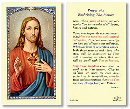 Sacred Heart Of Jesus Holy Prayer Card, Laminated, Prayer For Enshrining The Picture' On Back, Saint Margaret Mary Devotion Of (Mary Personalized Prayer Card)
