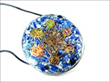 Jet Lapis Lazuli Orgone Chakra Pendant Metatron's Cube Round 2 inch approx. Diameter 3rd Eye Activation Boost Healing Gemstone Chakra Balancing Crystal Grid Jet Crystal Therapy Booklet Handmade