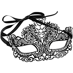 Luxurious Venetian Masquerade Filigree Mask - Malleable Laser-cut Metal With Rhinestones - Fantasy/Animal Series - Dragon Pattern - For Masquerade Ball, Mardi Gras, Halloween Costume Party, New Year's Party, Carnivals and Festivals