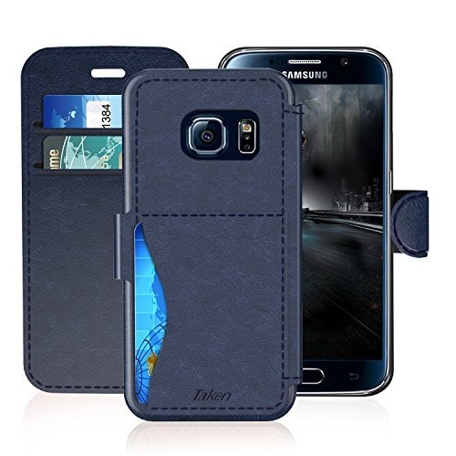 Samsung Galaxy S6 Leather Wallet Case with Credit Cards Slot and Metal Magnetic, TAKEN DIRECT Galaxy S 6 Plastic Flip Case / Cover, Vintage and Fashion, Durable and Shockproof Holster (Blue)