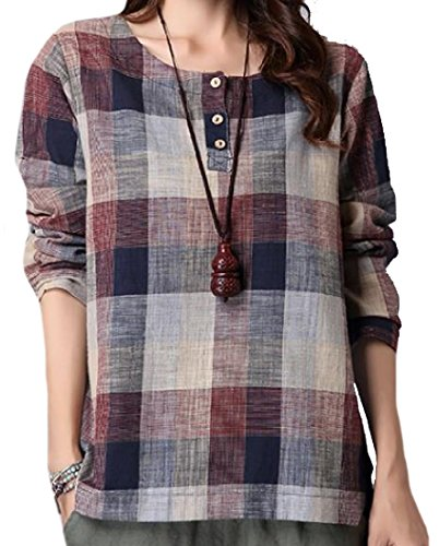 Abetteric Women Trendy Cotton Linen Spring Autumn Panelled Down Tops L