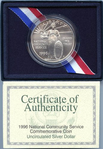 (1996 Modern Commemorative National Community Service Silver Dollar Uncirculated US Mint )