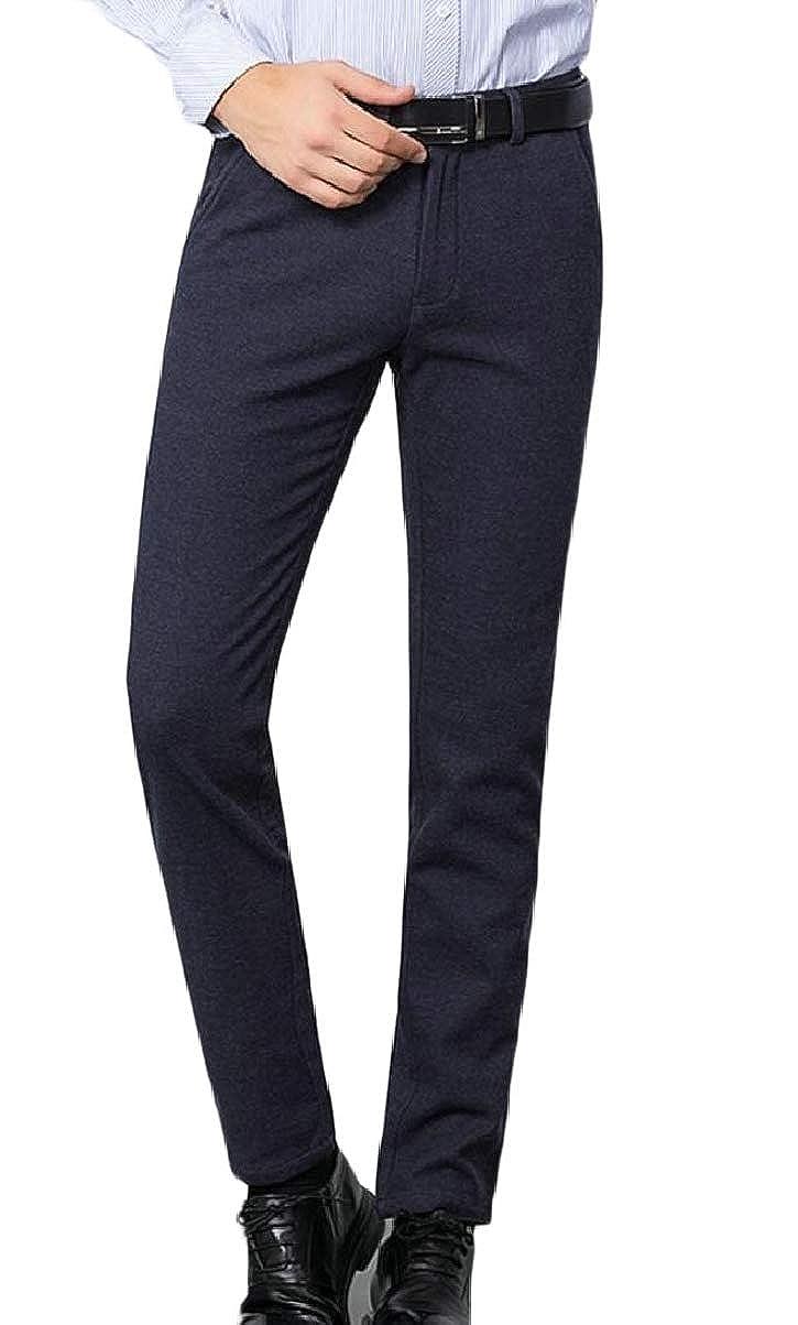 CBTLVSN Mens Business Plain Straight Leg Leisure Dress Solid Flat-Front Chino Pants