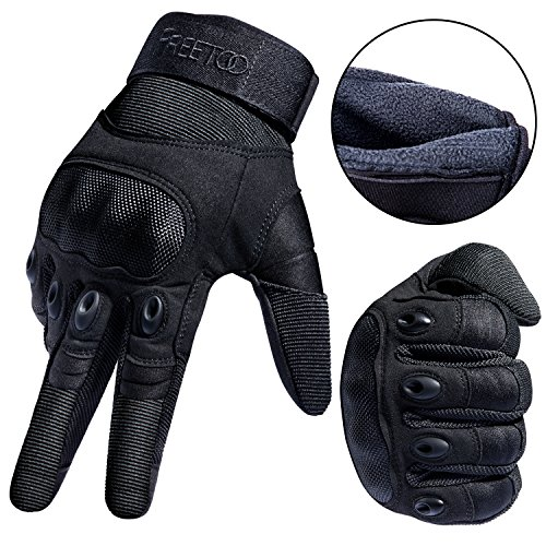 "FREETOO Tactical Gloves Military Rubber Hard Knuckle Outdoor Gloves (Black Plus Velvet, L:9""-9.2"" Circumference Finger Length: 3.3"")"