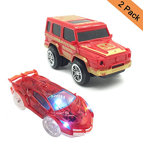 THREE BEARS Magic Track Cars Light Up Toy Cars With 4 Flashing LED Lights Glow in the Dark Racing Track Accessories,Compatible with Most Tracks(Pack of 2)