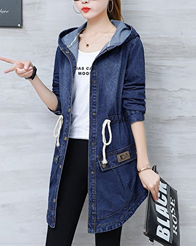 Cappuccio Sottile Lunga Jeans Giacca Denim Donna Di Manica Con Giubbotto Blu Cappotto Lungo Parka IqTxf