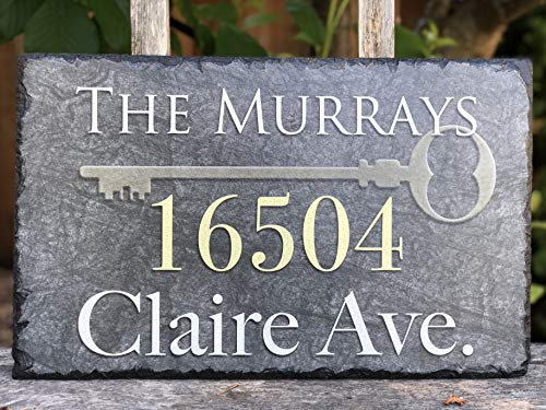 """Sassy Squirrel Handcrafted and Personalized Slate House Number Sign (12""""x8"""")"""