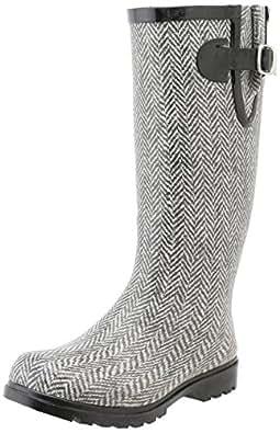 Nomad Footwear Women's Puddles Rain Boot, Grey/White Herringbone, 5 M US