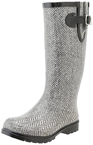 Nomad Footwear Women's Puddles Rain Boot, Grey/White Herringbone, 10 M US