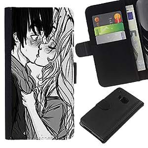 iBinBang / Flip Funda de Cuero Case Cover - Baiser Garçon Fille Surprise Amour Couple Art Dessin - HTC One M7