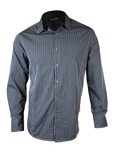 INC International Concepts Tinsel Slim-Fit Shirt BLACK STRIPE L