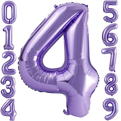 - PartyMart Purple Foil Balloons Number 4, 40 inch