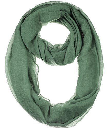 BYOS Womens Airy Crinkled Lightweight Soft Infinity Scarf Loop Snood in Solid Color (Hunter Green-B)