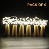 CYLAPEX Set of 6 Cork Bottle Lights, with 20 Micro LEDs on 3.3FT Copper Wire, Starry Fairy String Light for Wine Bottle DIY, Wedding, Party, Christmas, Halloween, LED Decor or Mood Lights, Warm White