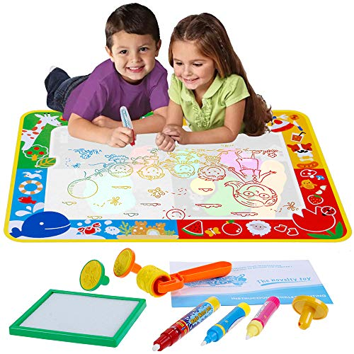 Anpro 27.5×39.4 in Doodle Mat, Magic Water Drawing Mat with 3 Pens, 3 Stamps, and 1 Drawing Book Painting Pad Perfect Educational Learning Birthday for Children Over 3 Years