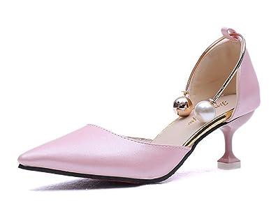 Easemax Damen Elegant Spitze Zehe Perlen Glitzer Stilettos Pumps Rosa 38 EU r2dAes