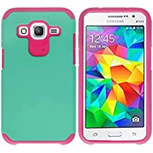 Galaxy Core Prime G360,Berry Accessory(TM) [ Armor Defender] Dual Layer [ Shockproof ] [ Drop Protection] Protective Case for Samsung Galaxy Core Prime G360 + Berry logo stand holder (Teal + Hot Pink)