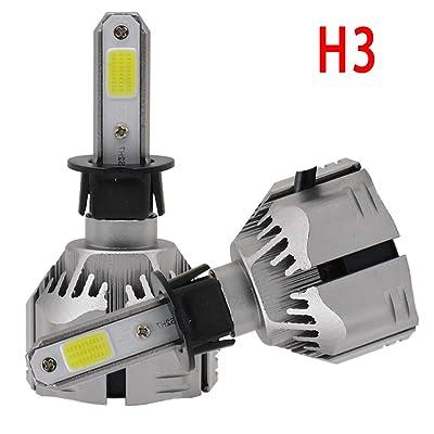 H3 LED Headlight Bulbs Kits-COB Chips Adjustable Beam Pattern, 72W/8000LM LED Headlight Lights, 1 pair -2 Year Warranty: Automotive