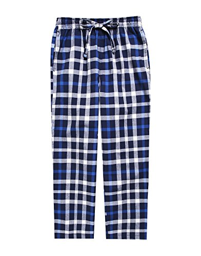 - TINFL Boys Plaid Check Soft 100% Cotton Lounge Pants BLP-SB014-Blue-XXL