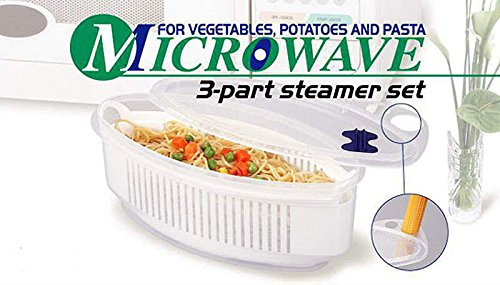 Microwave 3 part steamer set for Pasta Vegetables And Potatoes | No Mess, Sticking or Waiting for Water to Boil by River Charms (Image #2)
