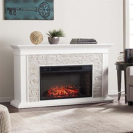 Amazon Com Bowery Hill Faux Stone Electric Fireplace Kitchen