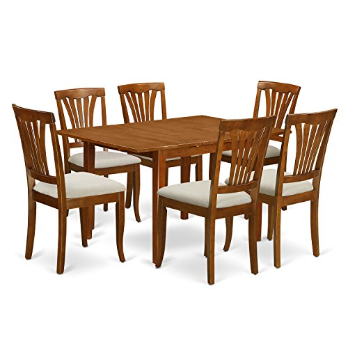 East West Furniture MLAV7-SBR-C 7-Piece Dinette Table Set