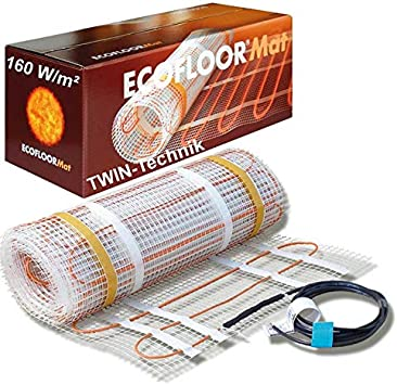 ECOFLOOR® Fußbodenheizung elektrisch ✓160 Watt/m² ✓ Elektro Fußboden-Heizmatte für Fliesenboden & Steinboden✓ elektrische Fußbodenheizung (4m² =…