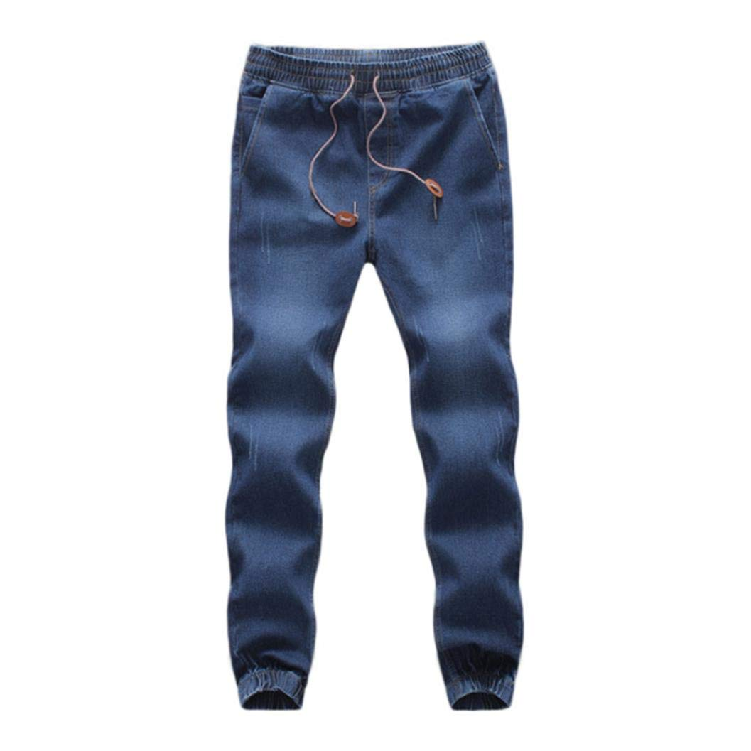 Realdo Clearance Sale, Casual Men's Denim Elastic Draw String Work Trousers Jeans Pants(X-Large,Dark Blue)
