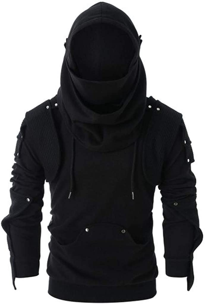 Dumanfs Mens Retro Mask Rivet Hooded Pullover Sweatshirt Long Sleeve Pocket Tops Blouse Sweater