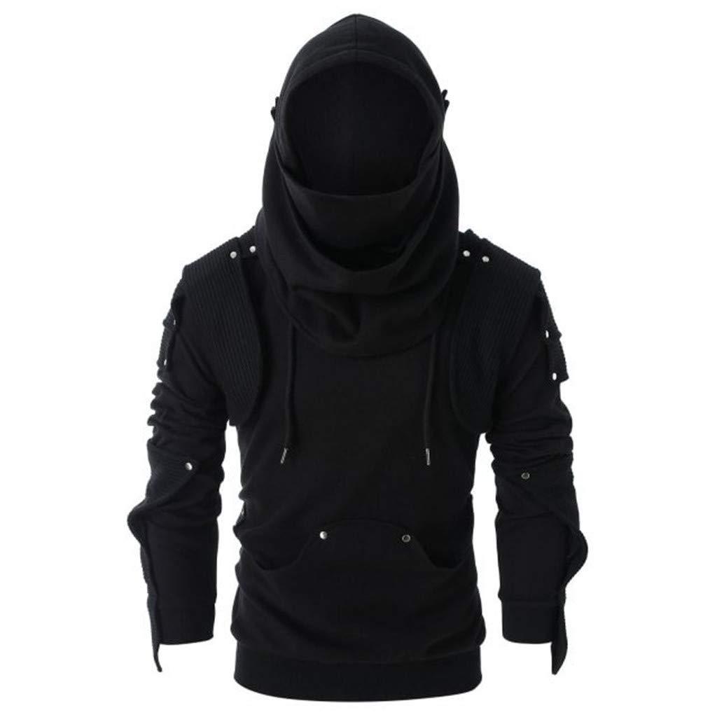FEDULK Men's Vintage Mask Rivet Pullover Hoodies Long Sleeve Pocket Hooded Sweatshirt Tops Blouse(Black, X-Large) by FEDULK