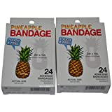 BioSwiss Novelty Bandages Self-Adhesive Funny First Aid, Novelty Gag Gift (2 boxes of 24 bandages) (Pineapple)