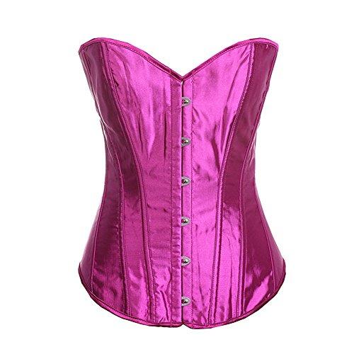 Bodice Satin Corset - Senchanting Plus Size Women Overbust Boned Lace-up Satin Corset Bustier Top (Purple,M)