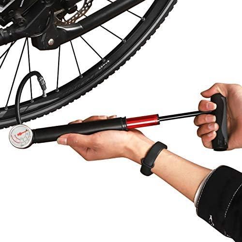 CNLOYUA Mini bomba de aire para bicicleta, con manómetro, 80 psi 5,5 bares. Minibombas para bicicleta de carreras, balones de fútbol, bicicleta de montaña, baloncesto, etc.: Amazon.es: Deportes y aire libre