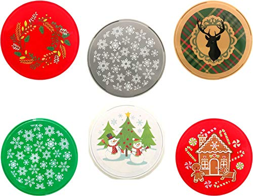 Christmas Holiday 9 inch Plastic Cookie or Treat Containers - Set of 4 - Designs Will ()