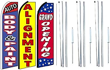 Pack of 3 Auto Repair,auto Body /& Paint Open King Swooper Feather Flag Sign Kit with Pole and Ground Spike