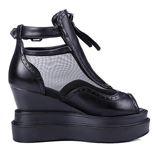 Amoonyfashion Kvinna Mjukt Material Peep Toe Höga Klackar Zipper Fasta Sandaler Svarta