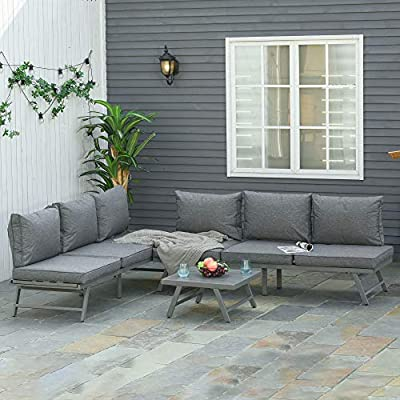 Outsunny 3 Pcs Patio Furniture Cushioned Couch Grey