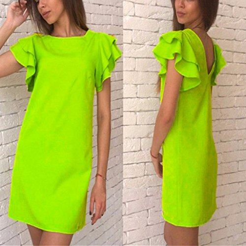 SCASTOE Women Butterfly Sleeve Solid Color Casual Short Dress