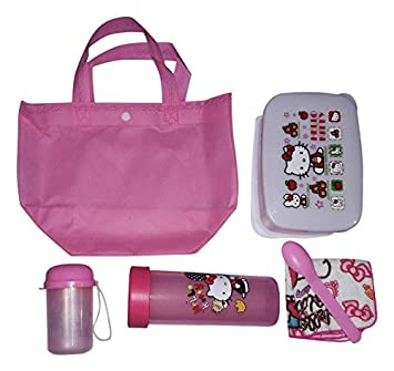 ONOTIC Set of Lunch Box with Spoon, Water Bottle, Handkerchief, Small Bottle and Carry Bag (Pink) - 6 Pcs