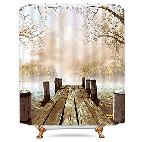 Riyidecor Wooden Bridge Shower Curtain Foggy Lake River Ocean Scene Beige Brown Taupe Fall Autumn Art Paintings Nature Country Rustic Seascape 72x84 Inch Fabric Bathroom Waterproof