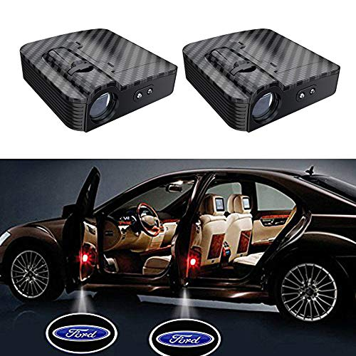 2PCS Carbon Fiber Wireless Universal Car Projection LED Projector Door Shadow Logo Light Welcome Lamps For ()