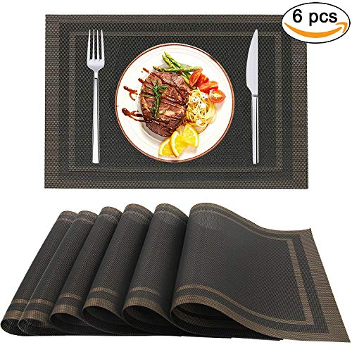 XIUDAI-XIUDAI Black Placemats Set of 6, Washable PVC Table Mats, Non-Slip Stain Resistant Coffee Mats, Heat Insulation Kitchen Tablemats for Daily Use, Thanksgiving, Christmas, Halloween P010 ()