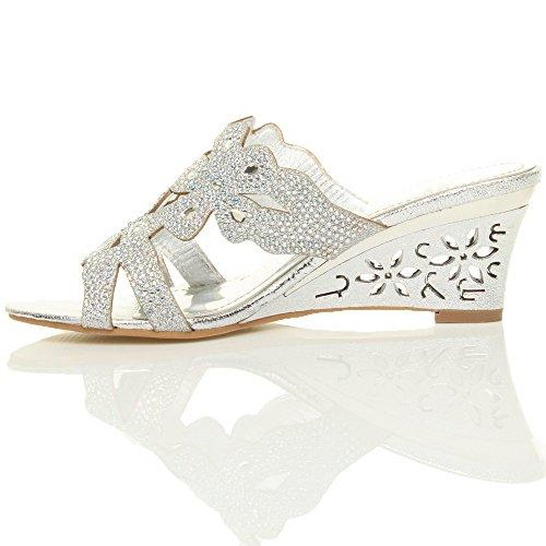 Rhinestone Size Women Ajvani Wedge Silver Mid Sandals Heel TzZqCwT