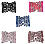 Lovef Crystal Bow Elastic Double Combs with Plastic Flowers Hair Clips, Hair Holder/Ez Comb 4pcs