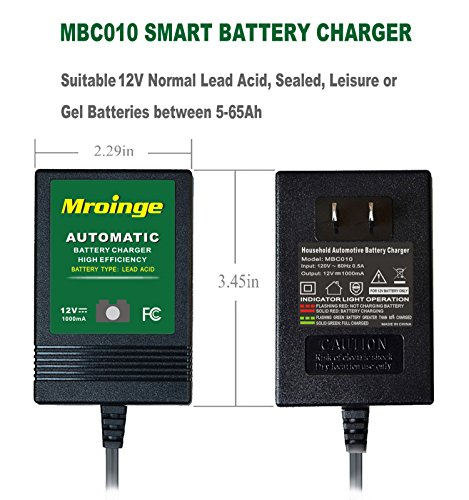 Mroinge automotive trickle battery charger maintainer 12V 1A for car motorcycle Lawn Mower SLA ATV WET AGM GEL CELL Lead Acid Batteries, Smart battery charger is tender charge for protect your battery by Mroinge (Image #1)