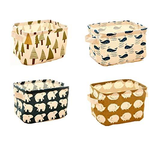 Hunter Raman Collapsible Storage Bin Basket,4Pack Stationery Handicraft Foldable Storage Bins Basket Linen Fabric Canvas Storage Baskets Organizers Shelves Baby Toys Makeup Office