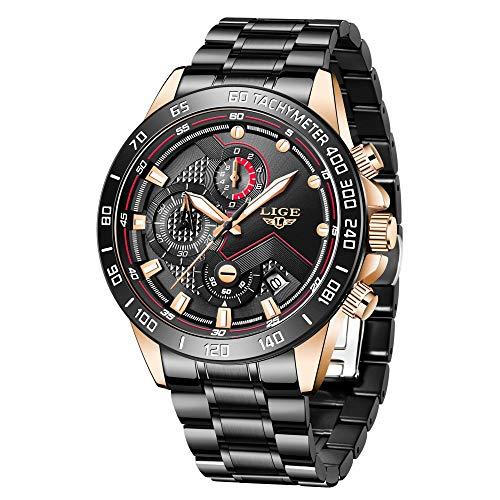🥇 LIGE Reloj para Hombre Elegante Moda Cronógrafo Acero Inoxidable Reloj de Pulsera Deportivo Cuarzo Analógico Impermeable Multifunción Casual Reloj